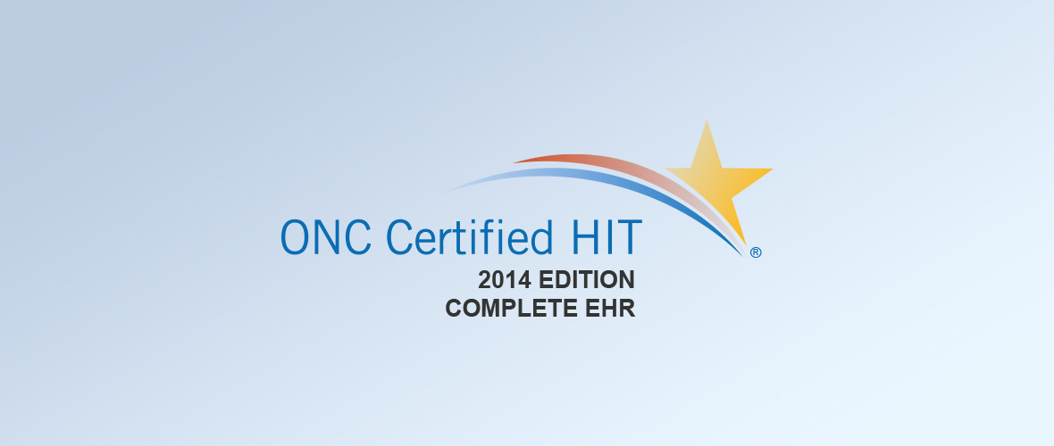 Banner stating that RXNT is ONC Certified HIT for the 2014 edition